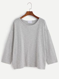Black Striped Drop Shoulder T-shirt