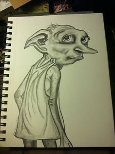 someones incredible pencil drawing of the Dobby character from Harry Potter.