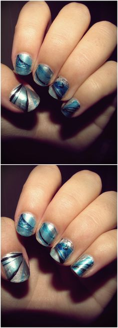My new Water Marble Nail art - #watermarble #nails #nailart