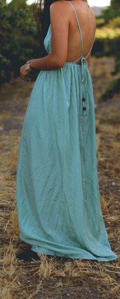Backless Seafoam Maxi Dress