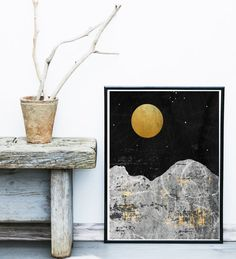 Abstract Art Printable Art Moon And Mountains  door exileprints
