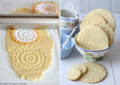 roll a doily imprint onto sugar cookies for a delicate pretty tea party snack!!!  Could use paper doilies or clean/washed cloth doilies