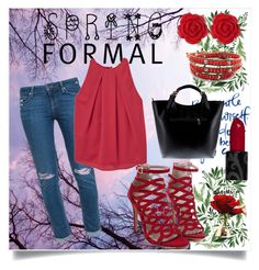 """""""Spring Formal"""" by nashama ❤ liked on Polyvore featuring Paige Denim, MANGO, Massimo Castelli, Dollydagger, red, clothes, pants and fashionset"""