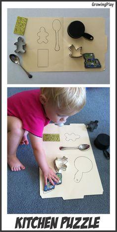 Growing Play: Kitchen Puzzle Montessori Toddler, Toddler Learning Activities, Toddler Play, Montessori Activities, Baby Play, Infant Activities, Preschool Activities, Kids Learning, Learning Games