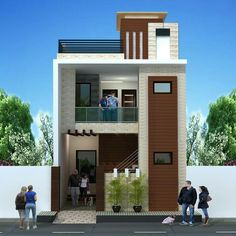 The exterior is the face of the house that everyone will see in the first part. Take a look at the world's most beautiful modern homes and find 3 Storey House Design, Bungalow House Design, House Front Design, Small House Design, Modern House Design, Front Elevation Designs, House Elevation, Building Elevation, Narrow House Designs