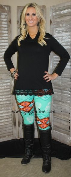 Aztec and Skull Leggings in Mint