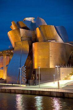 Guggenheim Museum at twilight, Bilbao, Spain