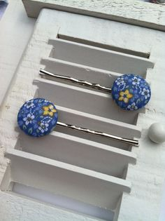 Blue Flowered Fabric Covered Button Bobby Pins