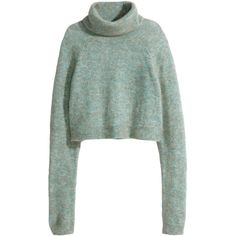 H&M Polo-neck jumper (335 ARS) ❤ liked on Polyvore featuring tops, sweaters, long sleeves, shirts, light turquoise, green turtleneck, turtle neck sweater, short jumper, long short sleeve shirts and short sweater