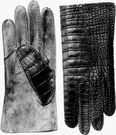 Daniel Storto, men's gloves, black Alligator with grey suede,
