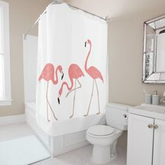 A fun look for the bathroom, this Pink Flamingos Tropical Birds Shower Curtain has retro tropical style. Brought to you by DancingPelican on Zazzle.