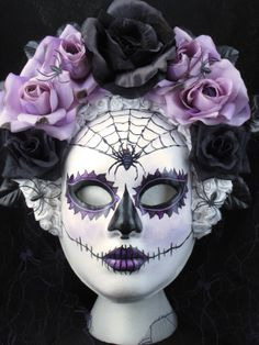 Dark Beauty Mask for Day of the Dead/Dia de los Muertos/Costume/Cosplay. $199.00, via Etsy.