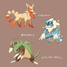 Fan speculation over the final evolutions of the Pokemon Gen VI starters (Fennekin, Froakie, and Chespin)