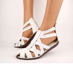 Vtg 80s White Ankle Cage Cut Out Leather by Ambercityvintage, $65.00