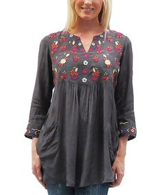 Look at this Caite Dark Gray Mitzi Notch Neck Tunic - Women Mall Outfit, Hippy Fashion, Gypsy Style, My Style, Earthy Style, Embroidered Tunic, Boho Outfits, Cold Shoulder Dress, Tunic Tops