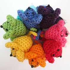 teeny tiny crochet rainbow mice