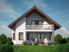 pohled domu Pavla 9 House Design Photos, House Front Design, Modern House Design, Swiss House, Modern Bungalow House, Model House Plan, Property Design, Storey Homes, House With Porch