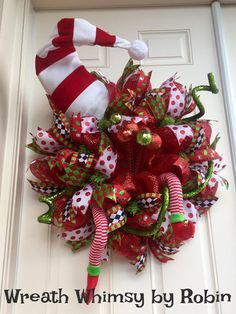 XL Deco Mesh Holiday Elf Wreath Red with Lime Green and Hat that Lights Up, Christmas Wreath, Whimsical, Elf Decor, Front Door Wreath