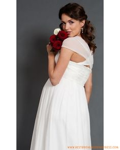 Chiffon Cap Sleeves Over Lace Bodice and Zip back Floor Length Maternity Wedding Dress Best Wedding Dresses, Bridal Dresses, Wedding Gowns, Bridesmaid Dresses, Wedding Tips, Wedding Bouquets, Wedding Stuff, Pregnant Wedding Dress, Maternity Wedding