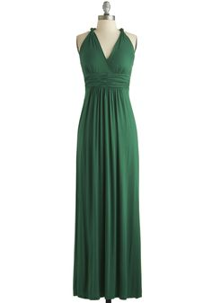 Green Your City Dress in Emerald | Mod Retro Vintage Dresses | ModCloth.com (the style of this dress in olive green with a lace bell sleeve top over it) #vintage