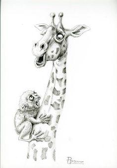 Funny animal art print wall decor giraffe tarsier pen and ink drawing wildlife artwork black and whi Ink Drawings, Animal Drawings, Cool Drawings, Flower Drawings, Foto Transfer, Wildlife Decor, Plant Drawing, Wall Drawing, Funny Illustration