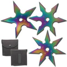 Enjoy hours of fun outdoors and indoors with this sure stick Khoga Ninja Throwing Star 3 piece Set. It includes one Five point star, one Six point star and one Seven point star with each approximately 4 inches in diameter. #khoganinjasurestickthrowingstar3pcssettitanium