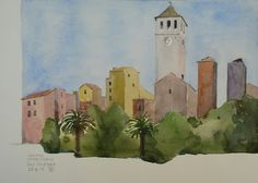 WaterColourSundayMan: Dalla terrazza Italsider29.8.15   Carta Fabriano s...