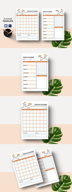 Page Template, Planner Template, Weekly Monthly Planner, Stationery Templates, Planner Pages, Custom Design