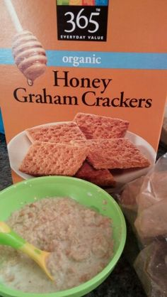 Short cut cereal (my mom's trick) in a pinch, crush graham crackers with milk/formula and makes a sweet cereal. Tried it to see if i could use it in the future and the twins liked it! #Wholefoods365