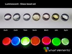 Element collection of luminescent doped optical glasses - 7 pcs. Optical Glasses, Research And Development, Uv Led, Led Lamp, Planer, Glass Beads, Education, Magnesium, Boyfriends