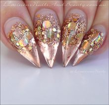 Rose gold tip gold glitter nail art