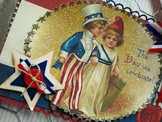 Hope you're having a great holiday weekend! Happy Fourth Of July, 4th Of July, July Images, Patriotic Crafts, All Holidays, Old Glory, Vintage Greeting Cards, God Bless America, Red White Blue