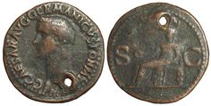 Coin Type: Holed copper as of Caligula, 37-41 CE   Mint and Date: Rome, 37-38 CE