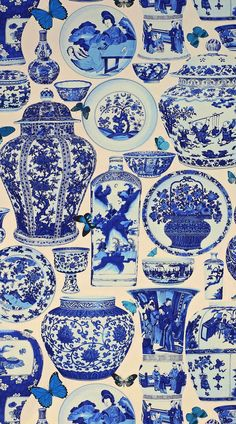 "'Jardin Bleu' fabric in Indigo from Manual Canovas ""design library"" Wallpaper Blue And White China, Blue China, Love Blue, Delft, Bleu Indigo, Vintage Design, Fabric Wallpaper, White Wallpaper, Textures Patterns"
