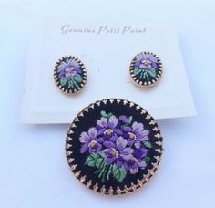Vintage Petit Point Embroidered Brooch and Clip on Earrings