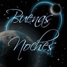 Ver imagen con fondo del planeta tierra rodeado de estrellas de colores con movimiento y otro planeta y un corazón brillante junto a la frase: Buenas Noches