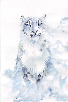 Snow Leopard by RavenMadwolf - Mountain Big Cats Art, Cat Art, Mythical Creatures Art, Fantasy Creatures, Watercolor Portraits, Watercolor Paintings, Watercolor Ideas, Animal Espiritual, Galaxy Art