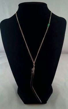 Black coral and Emerald Necklace by ChainLinkandGemstone on Etsy