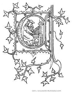 Illuminated Manuscript Letters -  Printable Alphabet Letters - Letter A ::: 4 A sketch of an illuminated letter template Milliande-printables.com
