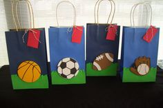 sports favor bags birthday favor bags baby by babybundlesandmore, $36.00