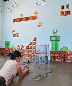 I am totally going to do this to my future kid's room of my future house. The kid will be forced to love Super Mario.