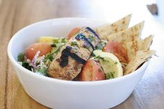 Greek Salad with Grilled Salmon from George's Greek Grill.