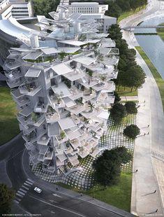 Een flatgebouw geïnspireerd op een boom. Modern Bourgondisch wonen in Frankrijk.