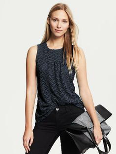 Banana Republic Perforated Lace Top - women's fashion / high pleated neckline clothing / sleeveless apparel