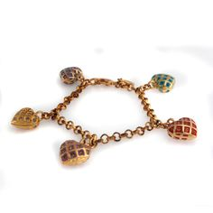 "Joan Rivers Goldtone Hearts Aflutter Multi Crystals 7-1/2"" Charm Bracelet  #JoanRivers #Chain"