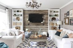 Small Living Room Accent Walls Ideas Best Of Hide that Tv Ideas for A Diy Accent Wall that Includes A Tv Beneath My Heart Accent Walls In Living Room, Living Room Tv, Pallet Accent Wall, Small Living, Modern Living, Modern Tv, Modern Design, Living Room Designs, Family Room