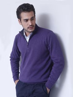 Purple Full sleeve half zipper with leather patch