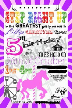 Carnival Themed 5th Birthday Invitations  created by Missy Moo Photo Imagery