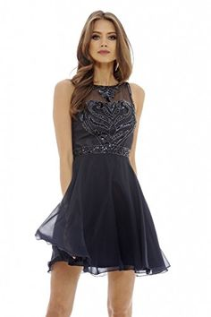 AX Paris Womens Embellished Chiffon Skater DressNavy Size6 -- For more information, visit image link.(This is an Amazon affiliate link and I receive a commission for the sales)