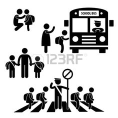 Student Pupil Children Back to School Bus Crossing Road Traffic Police Icon Symbol Sign Pictogram photo